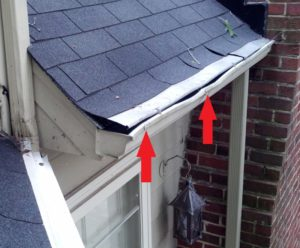 bent gutters from ladder